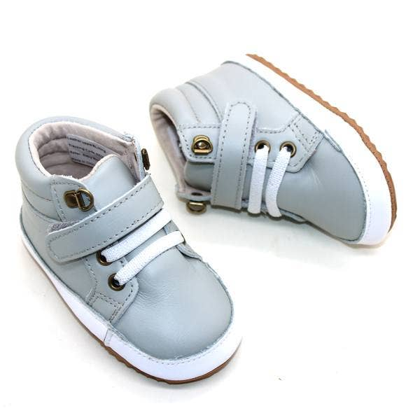 Baby Moccs - Leather High Top Baby and Toddler Sneakers - Gray