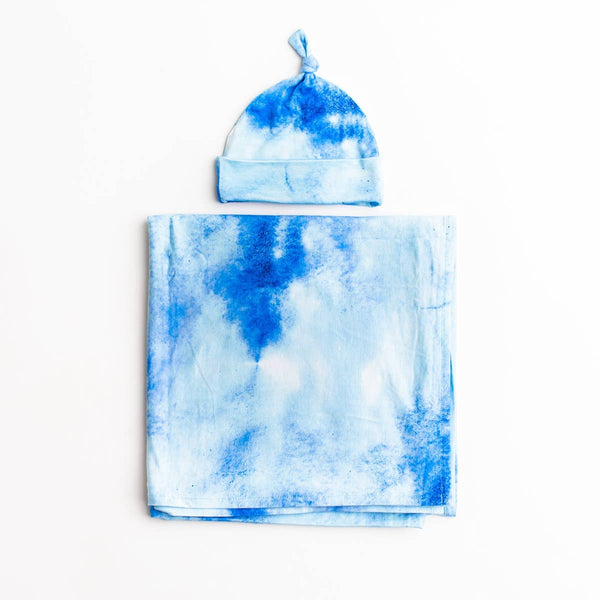 blue watercolor bamboo swaddle & knotted hat set