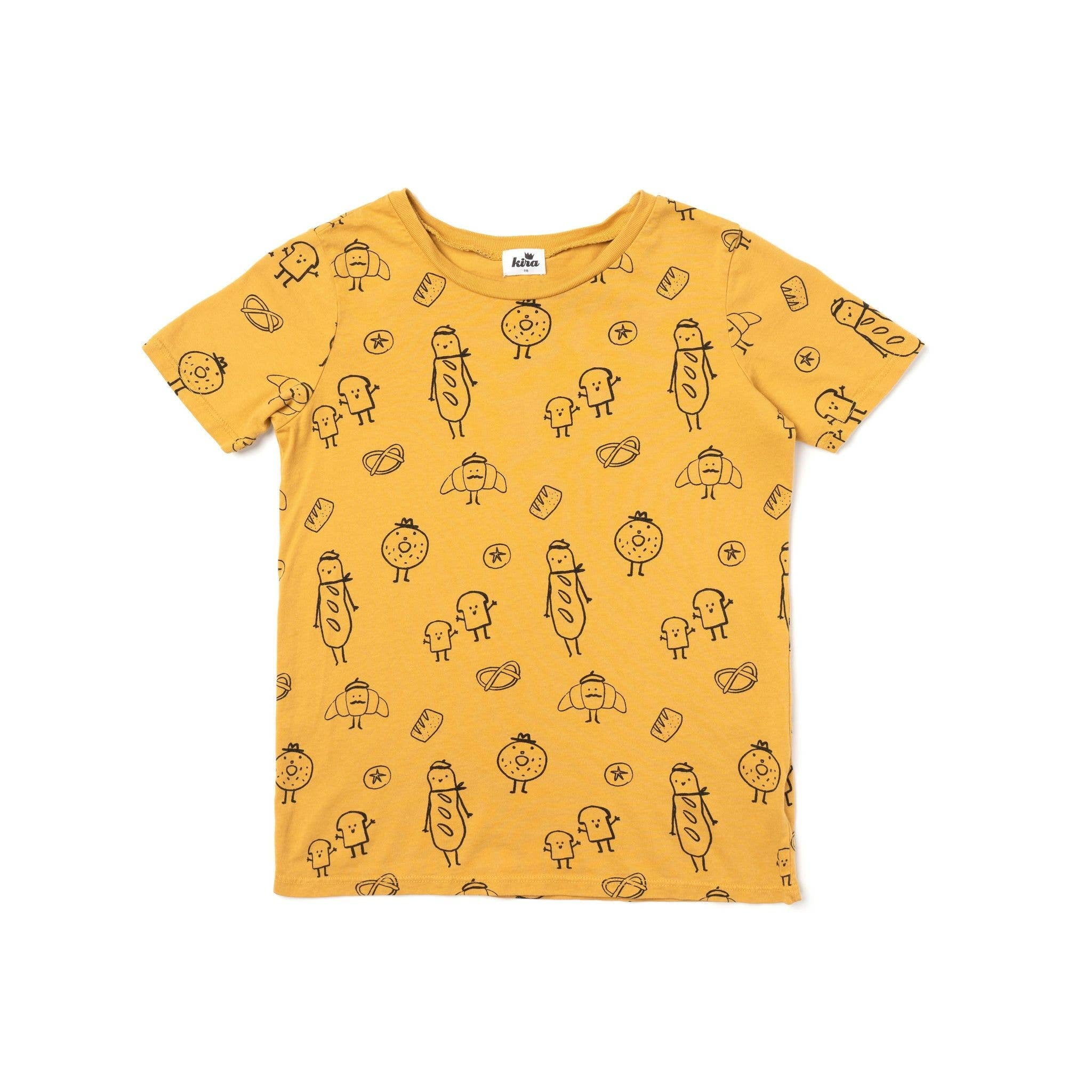 Kira - Bread Print Short Sleeve T-shirt, Golden