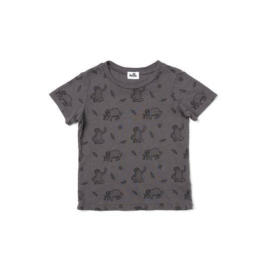 Kira - Sloth Print Short Sleeve T-shirt, Slate