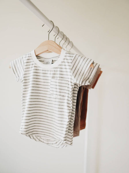 grey stripe pocket tee