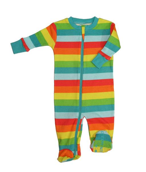 Rainbow Stripes- Organic Double Zip Footie