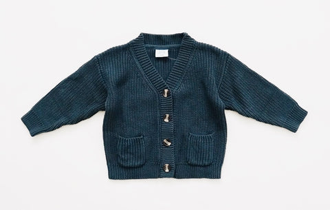 Chunky Knit Cardigan - Deep Sea