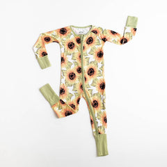 sunflowers bamboo zip romper/sleeper
