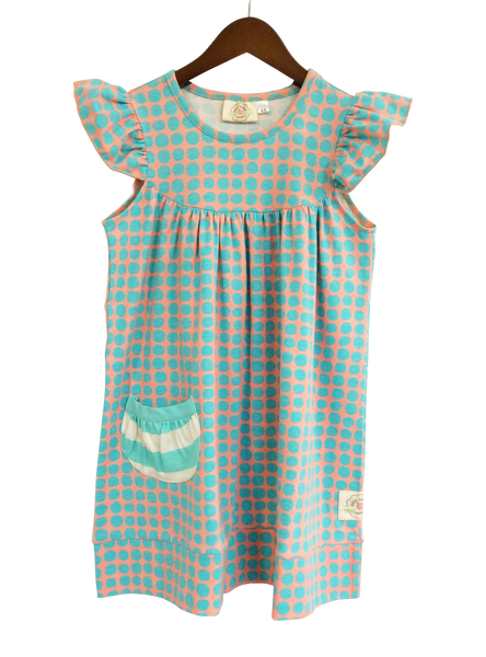 flutter sleeve dress with pocket - polka dot - last one! 4/5T