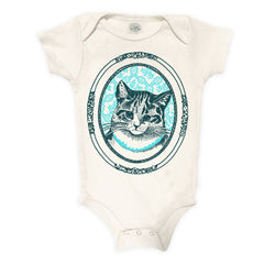 Kitty Organic Cotton Baby Bodysuit - Natural and Aqua