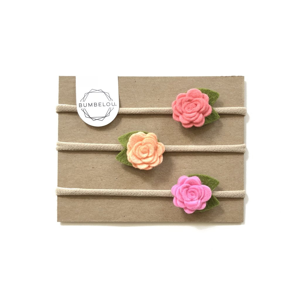 mini roses  headband - coral, peach, cotton candy
