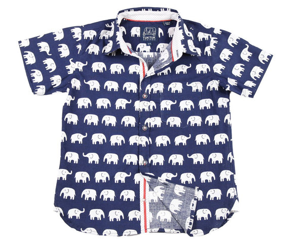 Erawan Elephants Blue Short Sleeved Button Down Shirt