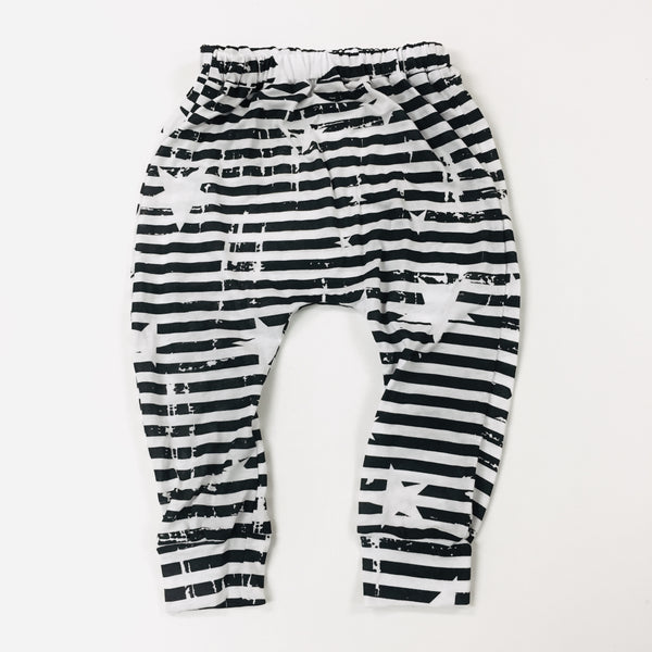 black star stripe harem pants
