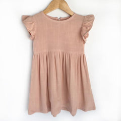 pink linen flutter sleeve dress