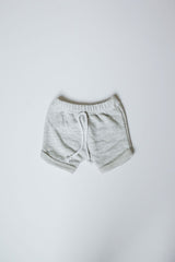 heather grey curved hem harem shorts