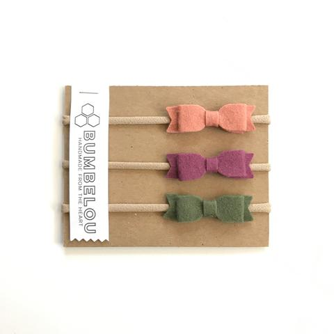 mini bows headband - grapefruit, plum, olive