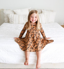 Horses Long Sleeve Twirl Dress- last one! 2T