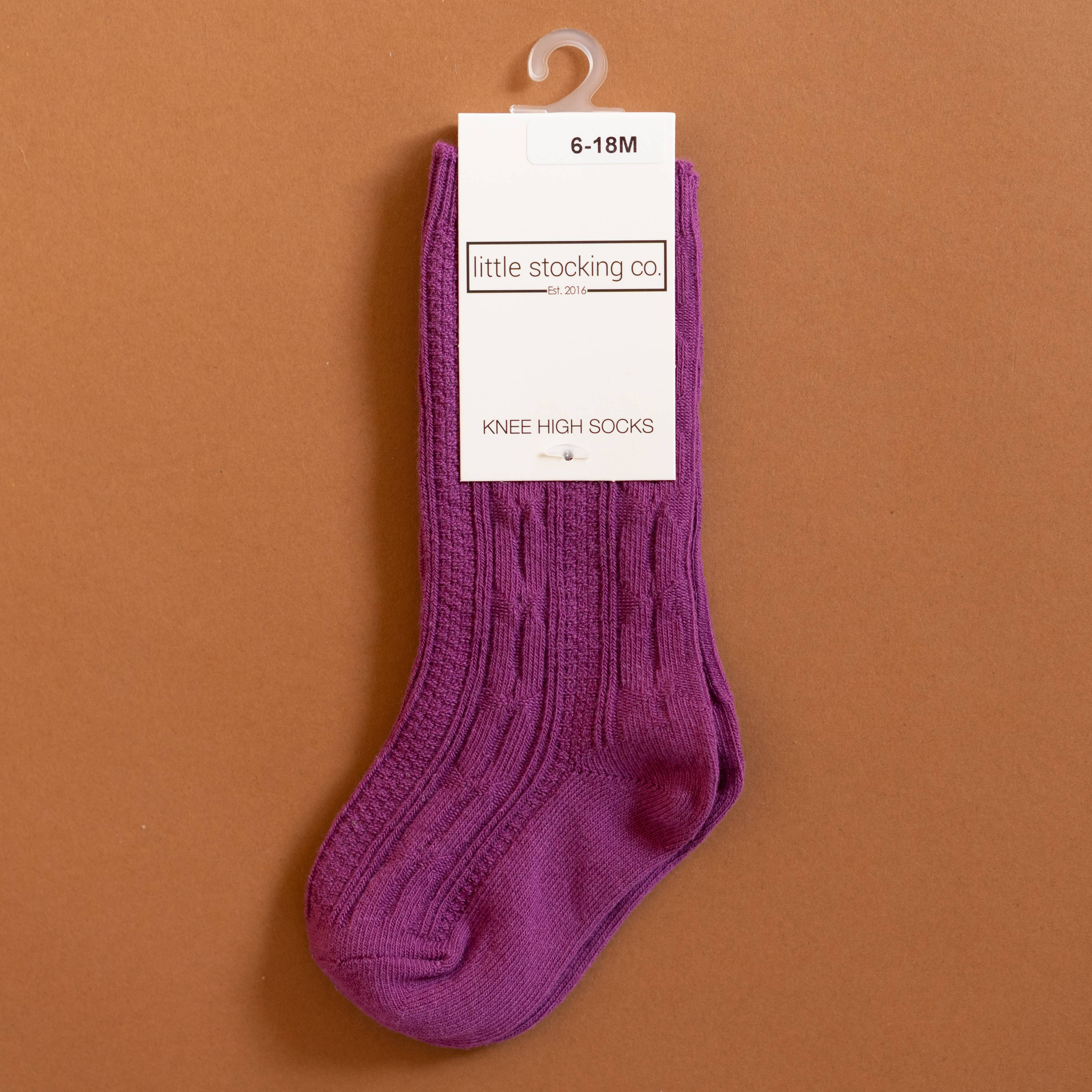 Little Stocking Co. - Willowherb Purple Cable Knit Knee High Socks