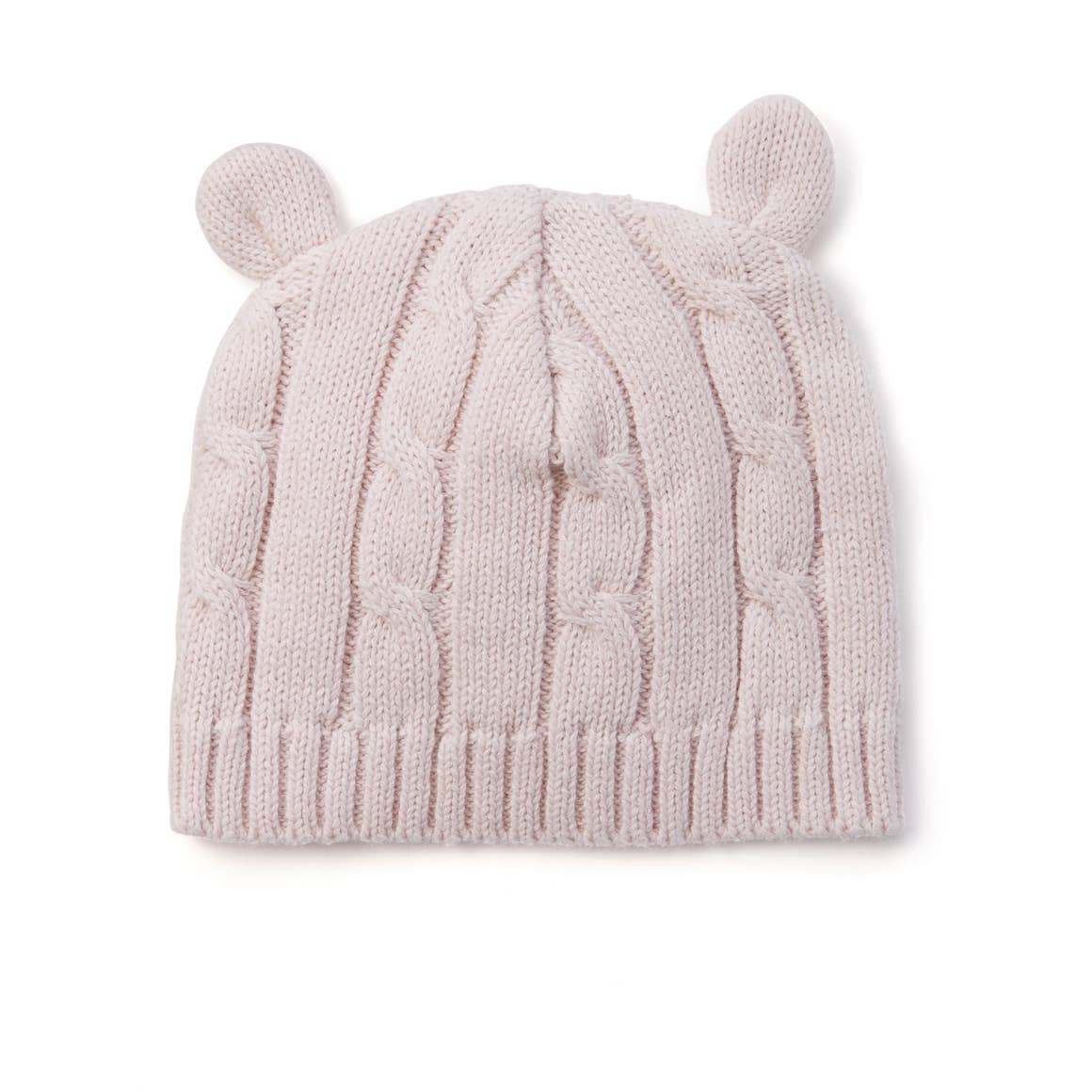 pastel pink cable knit hat with ears