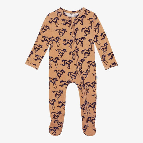horses zippered footie