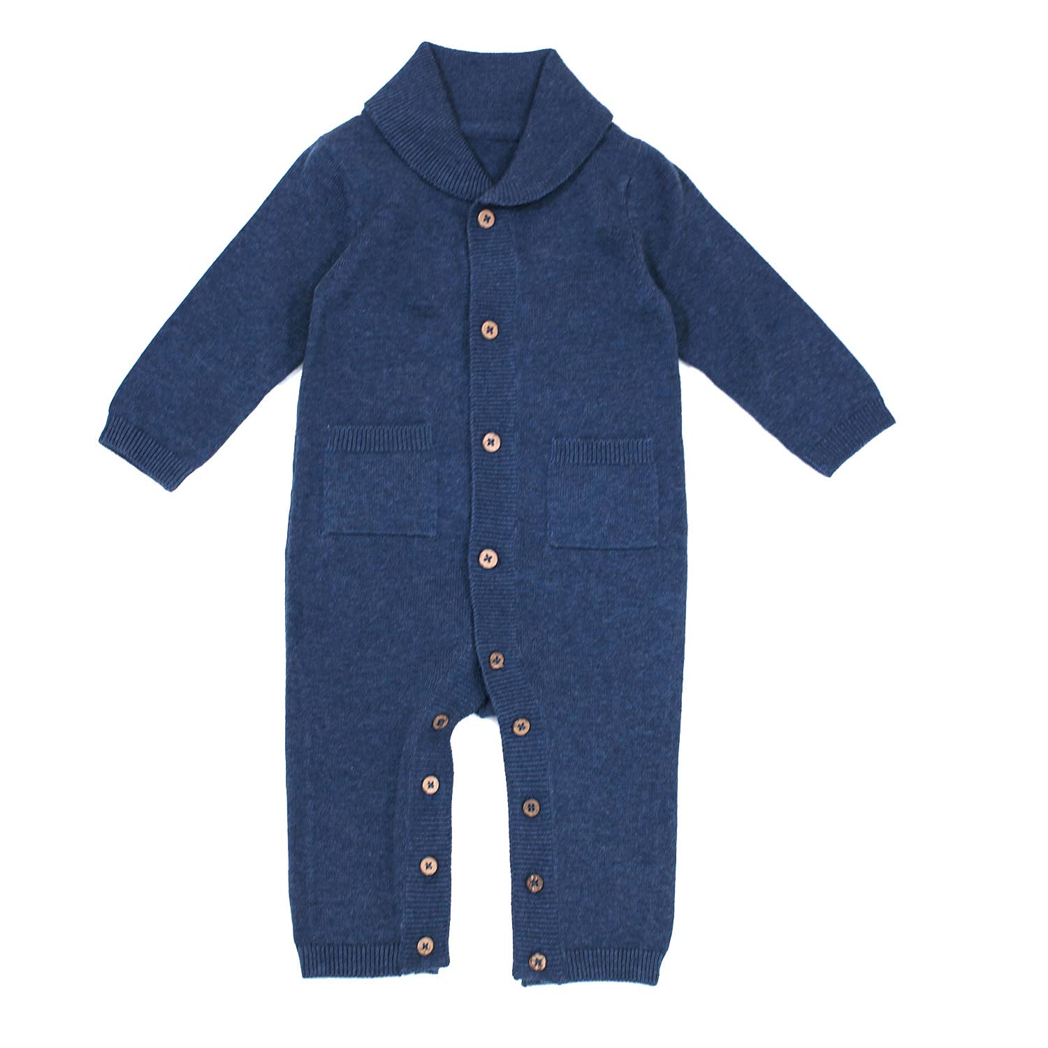 Heather Knit Shawl Collar Coverall Romper (Organic Cotton)