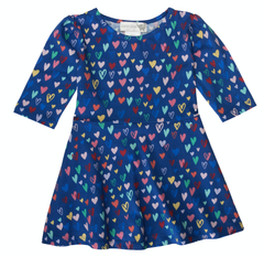 blue hearts twirl dress
