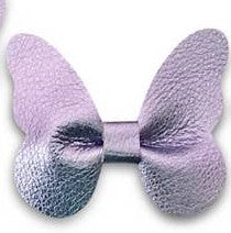 metallic lavendar leather butterfly headband or clip