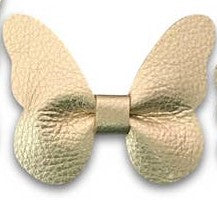 metallic champagne leather butterfly headband or clip