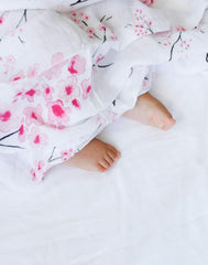 GOTS Certified Organic Cotton Muslin Swaddles - cherry blossom