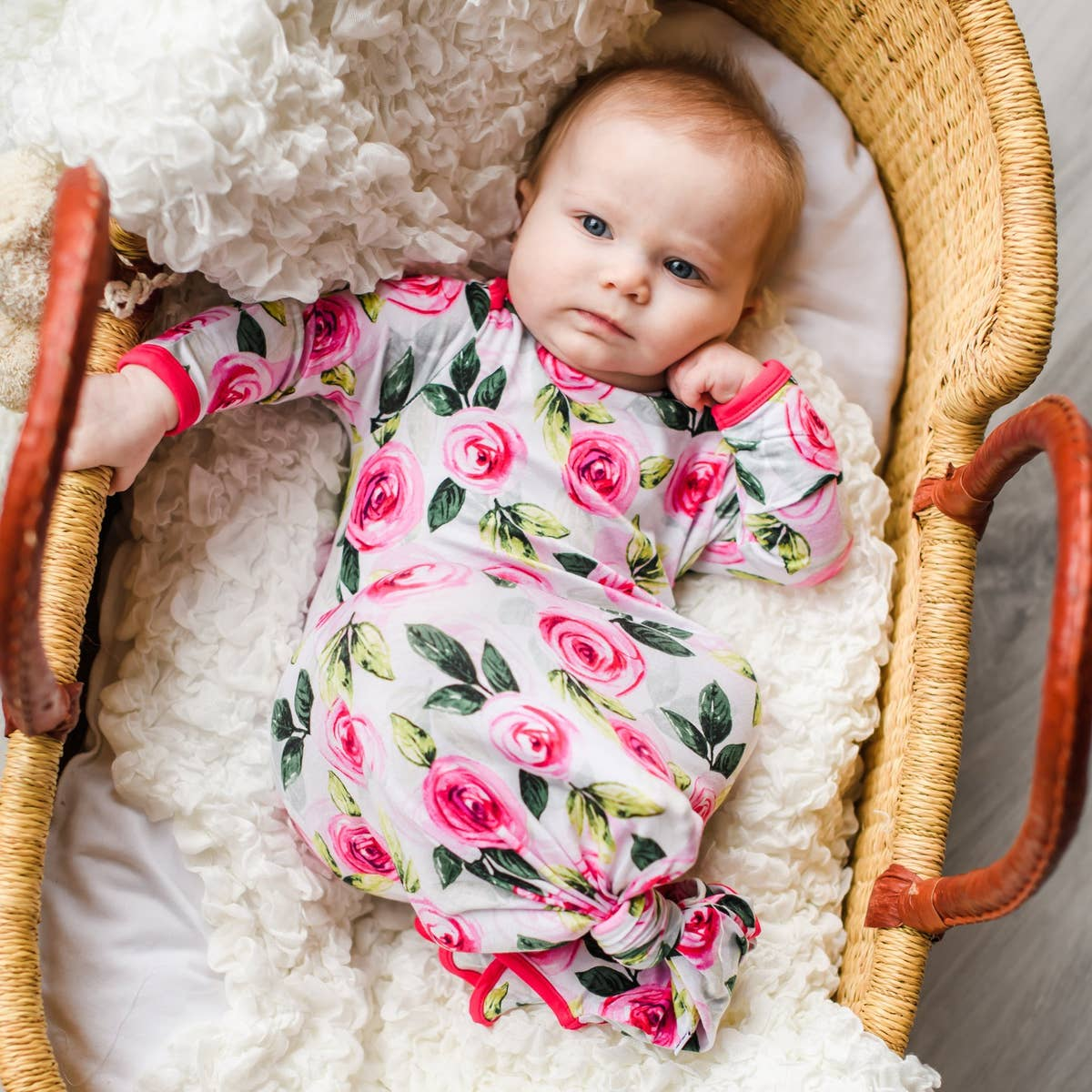 roses bamboo infant knotted gown
