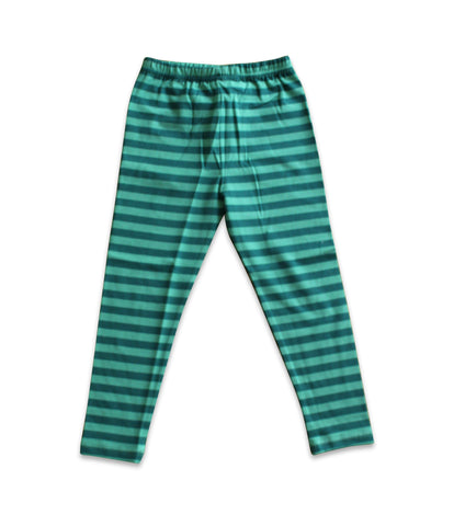 Teal Striped Leggings