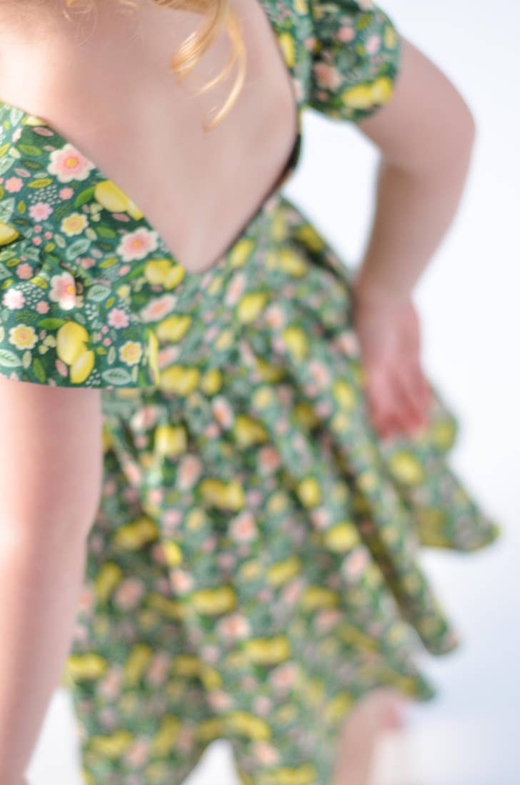 lemon floral twirl dress