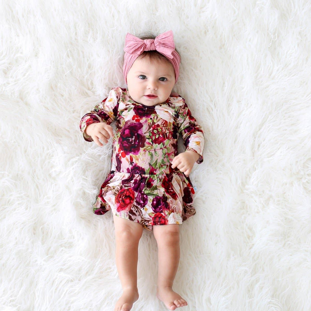 Red Roses L/S Twirl Skirt Bodysuit