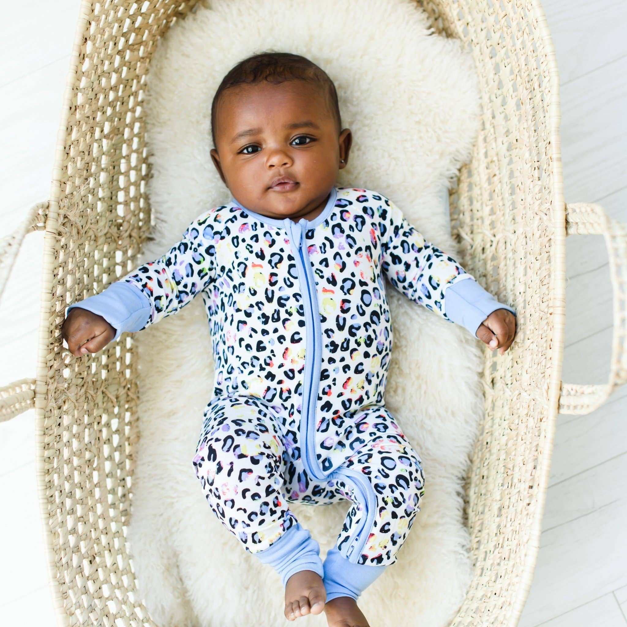 leopard love bamboo zip sleeper/romper