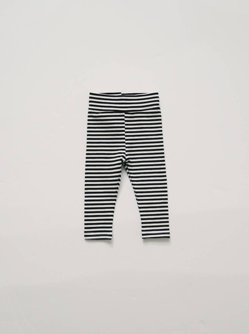 Stretch Leggings - B&W Stripe