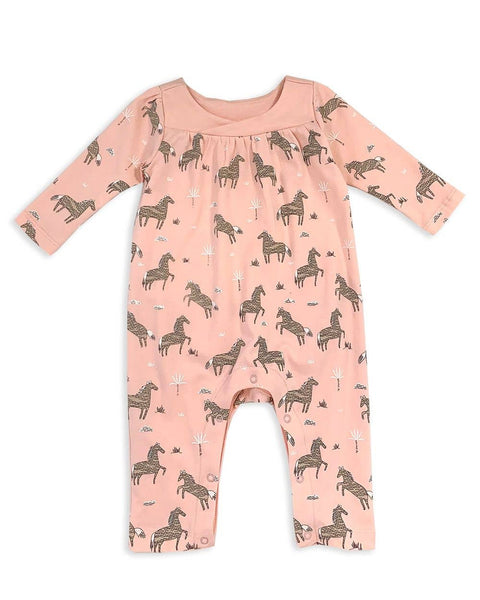 Horse Print Wrap Neck Baby Coverall Romper (Organic Cotton)