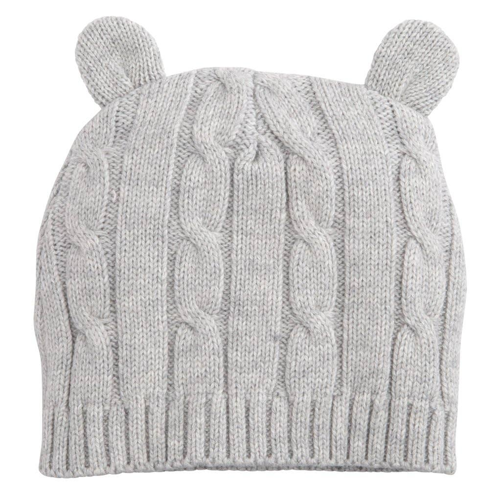 light grey cable knit hat with ears