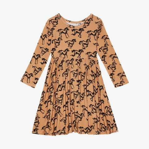 Horses Long Sleeve Twirl Dress