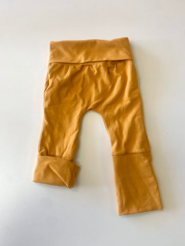 """Grow with Me"" pants- 3M to 12M, 12M to 3T- mustard"