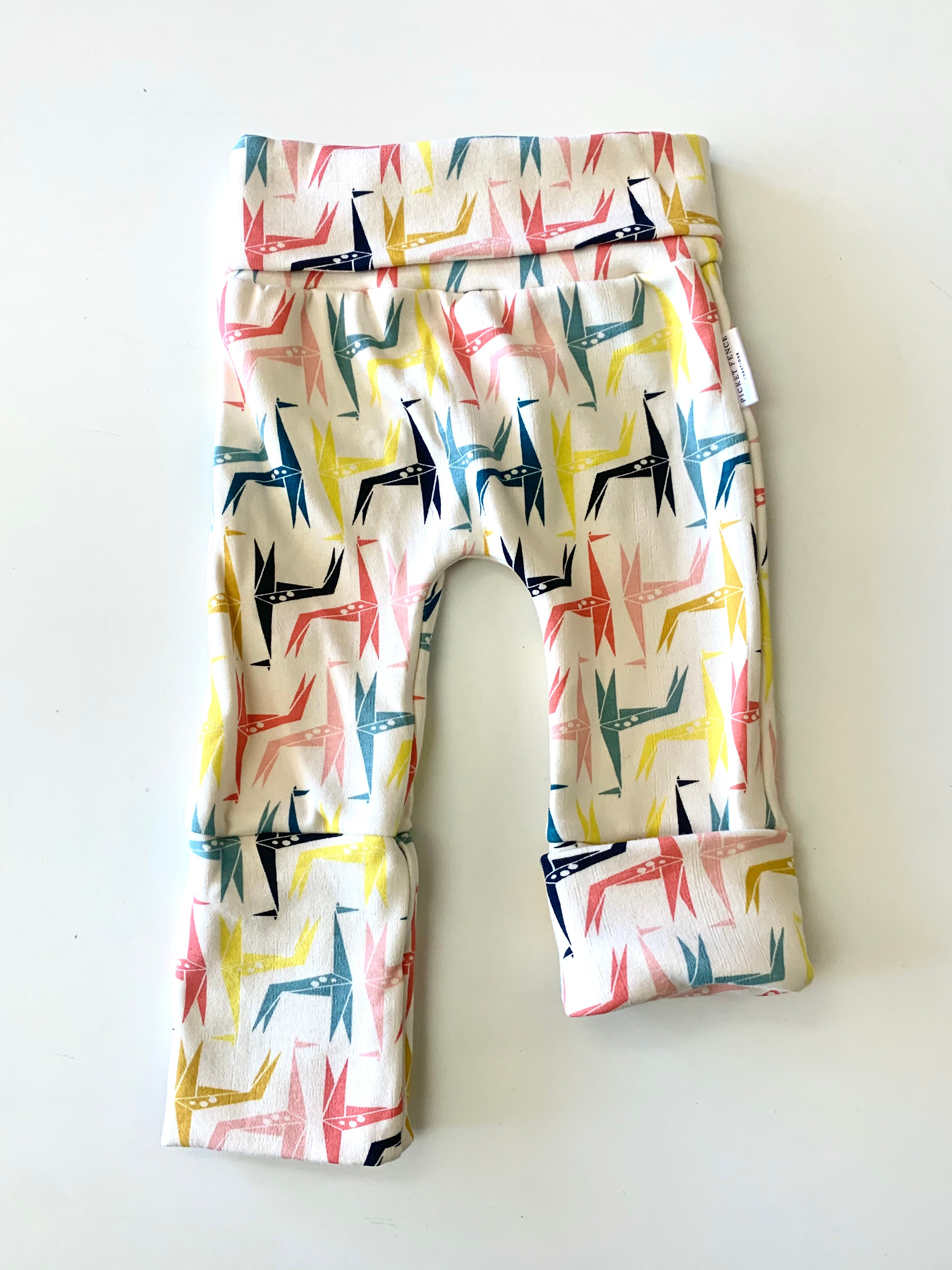"""Grow with Me"" pants- 3M to 12M, 12M to 3T- paper giraffe"