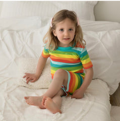 Rainbow Stripes- Organic Cotton Short PJ/Lounge Set