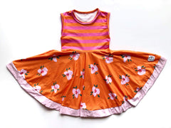 pink and orange stripe twirl dress
