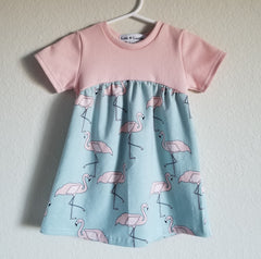 organic flamingo gathered dress