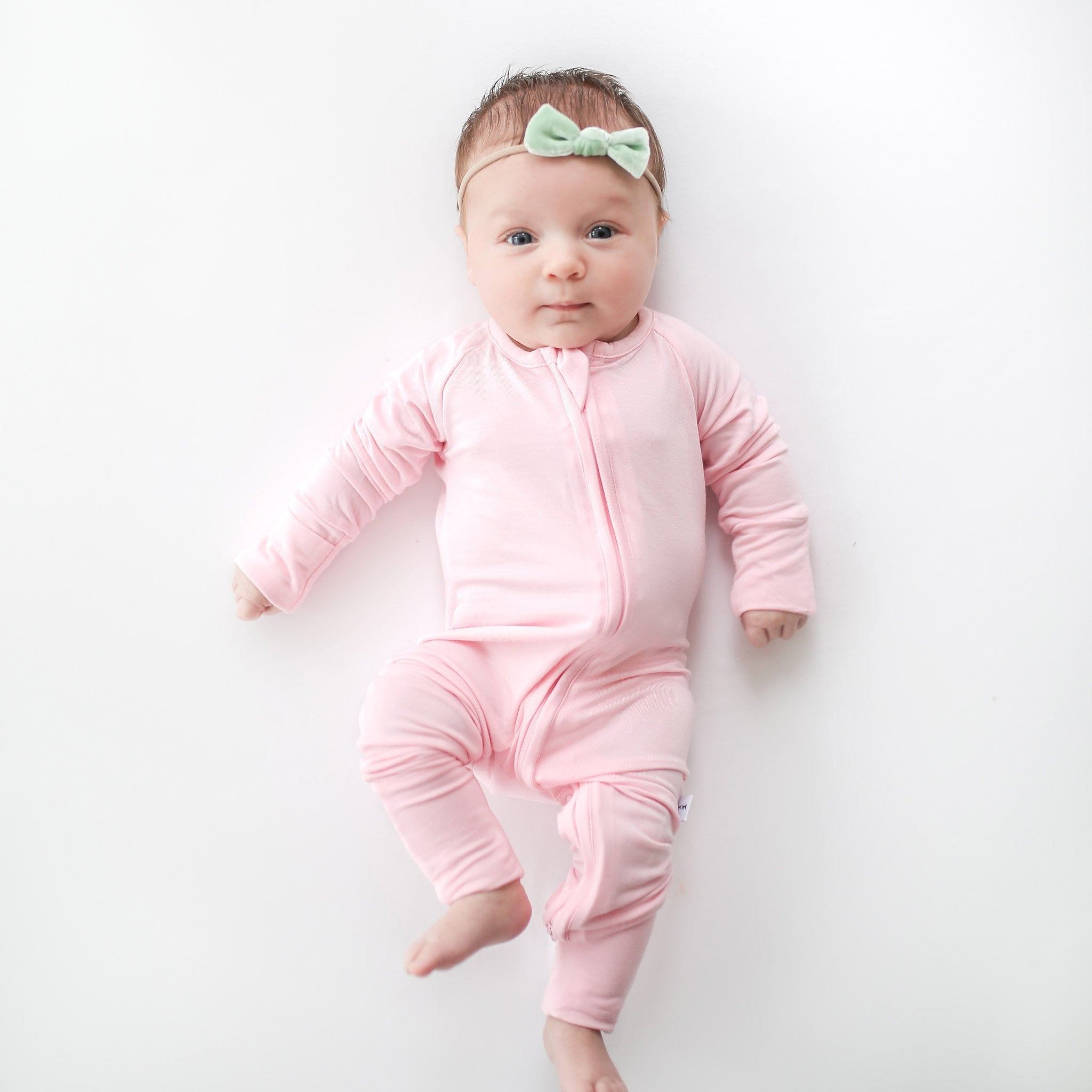 blush pink bamboo zip sleeper