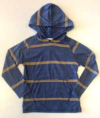 navy / mustard striped pullover hoodie