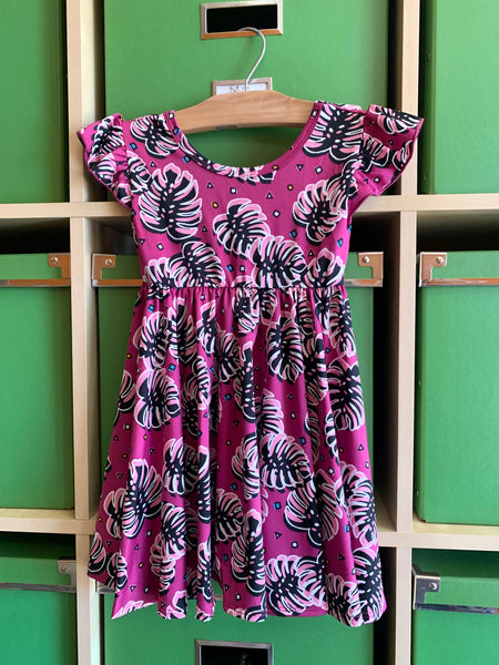 purple folliage empire spinning dress - last one! 2T