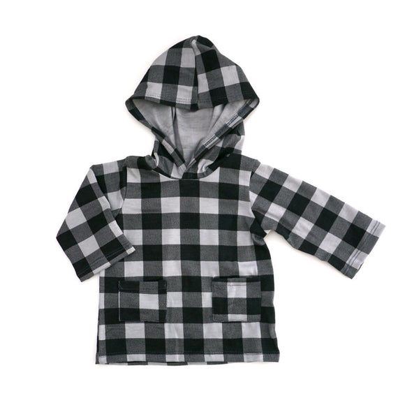 Grey Buffalo Check Hooded Pullover