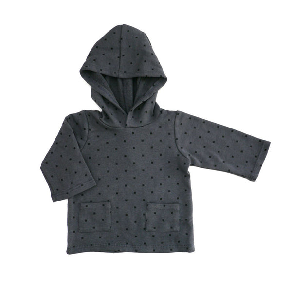 Black Squares Hooded Pullover