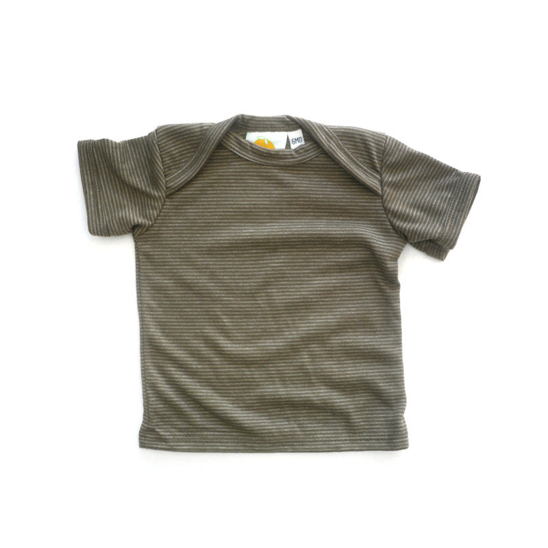 Brown Stripe Short Sleeve Lap Tee tops Kumquat
