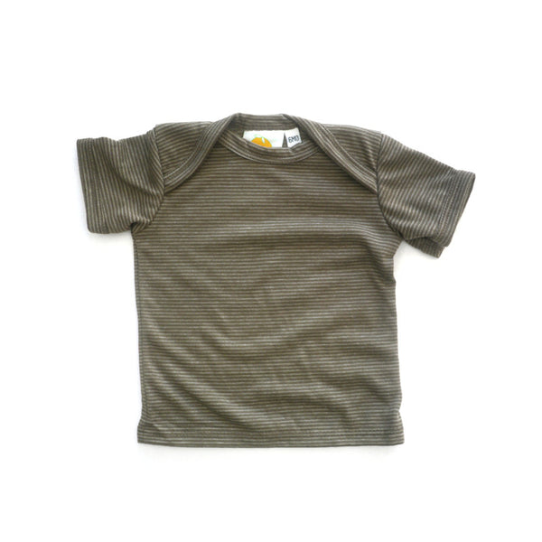 Brown Stripe Short Sleeve Lap Tee