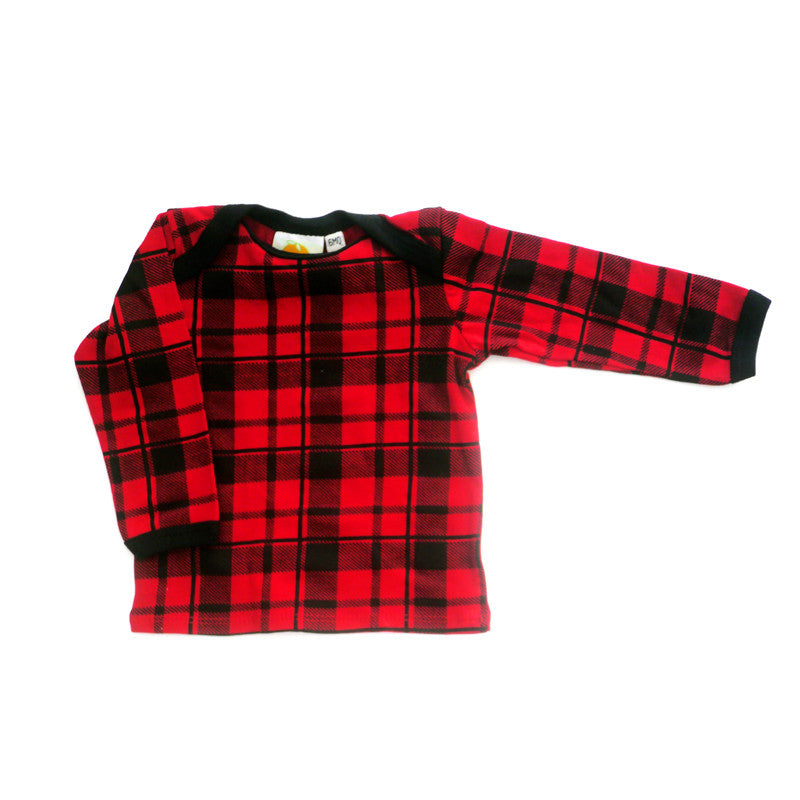 Red Plaid Long Sleeve Lap Tee tops Kumquat