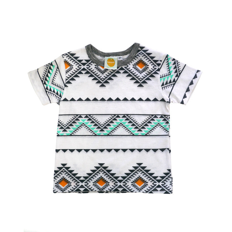 Aztec Short Sleeve Crew Neck Tee tops Kumquat