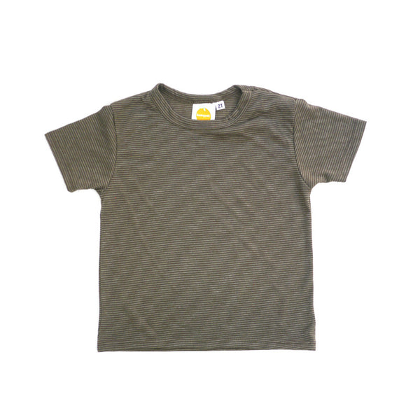 Brown Stripe Short Sleeve Crew Neck Tee