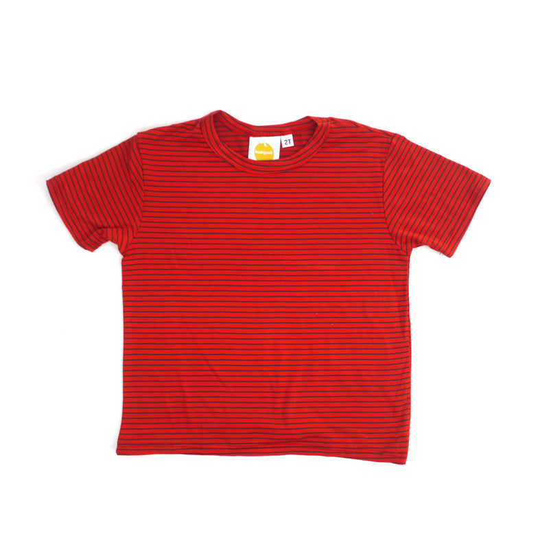 Royal Stripe Short Sleeve Crew Neck Tee tops Kumquat
